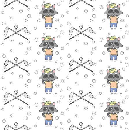 Cute Raccoons Playing Golf seamless pattern Vector Illustration, ready for T-Shirt.  イラスト・ベクター素材