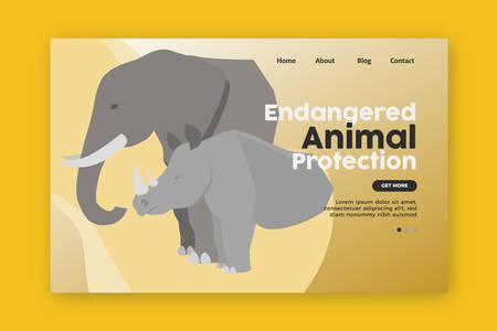 Endangered animal protection Landing Page. Elephant and Rhino vector Illustration