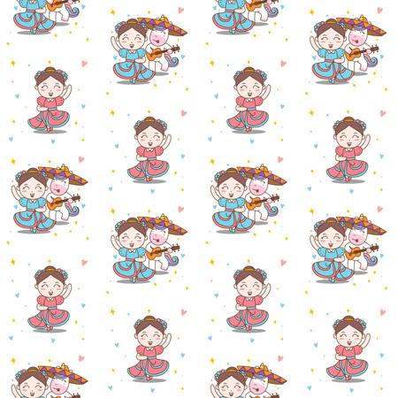 Fun Girl and Unicorn Dance Mariachi seamless pattern Vector Illustration