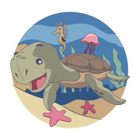 Turtle, Seahorses, jellyfish, starfish Swimming in the Sea Vector illustration Ilustração