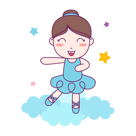 Cute Girl Ballerina dance blue custom on the cloud. vector Illustration  イラスト・ベクター素材