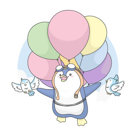 Vector Illustration of Cute Penguin can Fly with birds and use balloon.