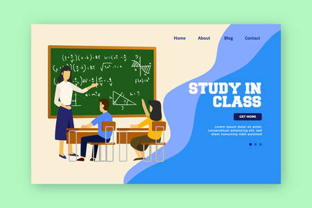 Study in Class Landing page. Children study in class with teacher. vector illustration.  イラスト・ベクター素材