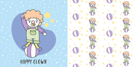 Happy Clown playing Ball and Seamless Pattern vector Illustration.