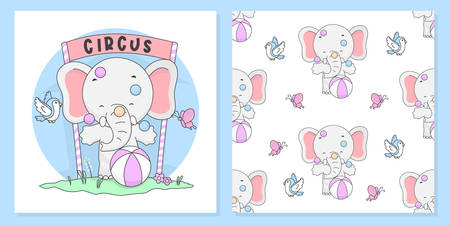 Cute Circus Elephant Illustration with pattern seamless. vector Illustration ready for print.  イラスト・ベクター素材