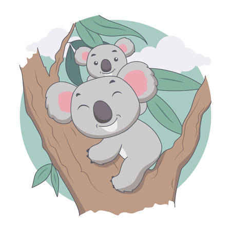 Koala and Mother in Tree. Animal, tree and Leave Vector Illustration  イラスト・ベクター素材