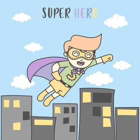 Boy Fly like Superhero in the sky of City. Vector Illustration  イラスト・ベクター素材