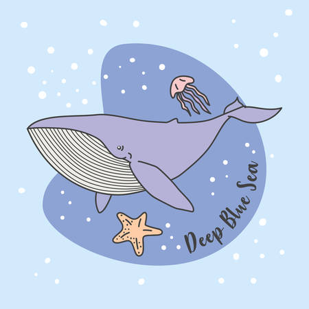 Blue Whale. Jelly Fish in Blue Sea vector illustration