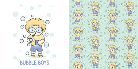 Cute boy with glasses playing bubble balloon and seamless pattern vector illustration. Ilustração