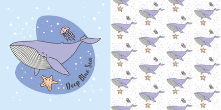 Blue Whale. Jelly Fish in Blue Sea vector illustration and seamless pattern Ilustração