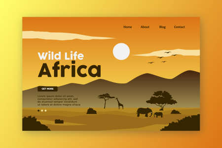 Wild Life Landing Page. Africa Nature vector Illustration.