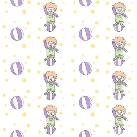 Happy Clown playing Ball Seamless Pattern vector Illustration.