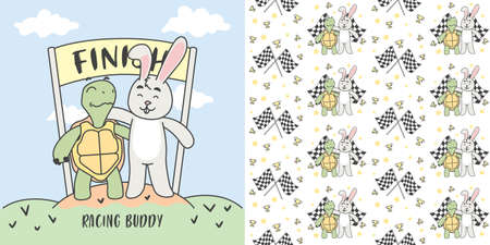 Turtle and Rabbit in finish line and Seamless Pattern Vector illustration.  イラスト・ベクター素材