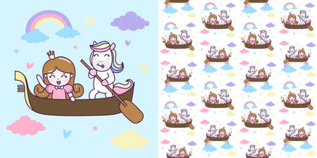 Cute Unicorn and Princess ride a boat with seamless pattern Vector Illustration.  イラスト・ベクター素材