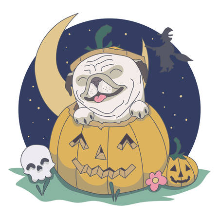 Pug out from Pumpkin. Skull, night, witch vector illustration  イラスト・ベクター素材