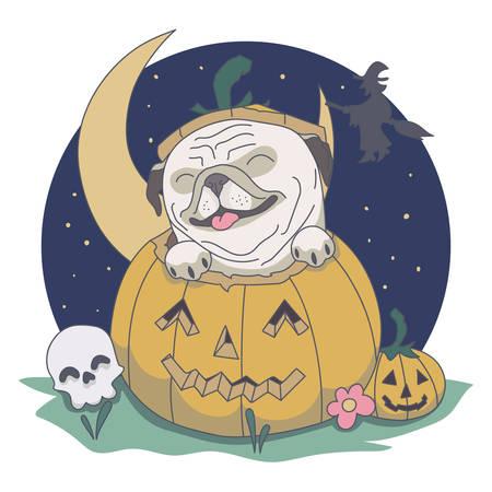 Pug out from Pumpkin. Skull, night, witch vector illustration Ilustração