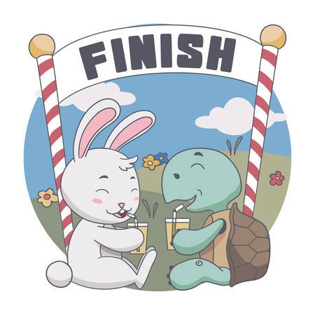 Vector Illustration of Happy Rabbit and Turtle Drink together after Race. Illustration