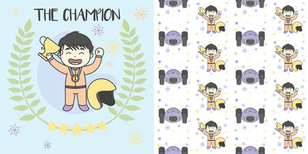 Kid The Champion Get Medals Win the racing. Vector illustration and seamless pattern Ilustração