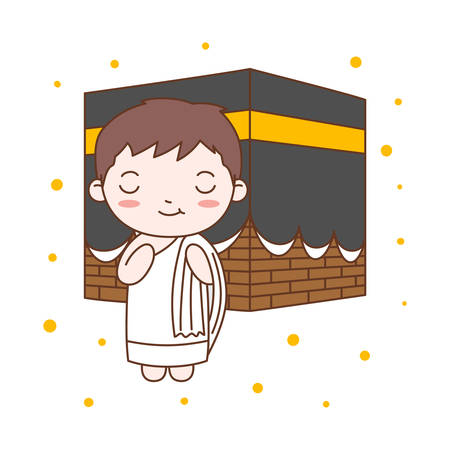 Cute Boy Praying in Kaaba. Muslim Kid Vector Illustration Ilustração