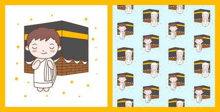 Cute Boy Praying in Kaaba. Muslim Kid Vector Illustration with pattern  イラスト・ベクター素材