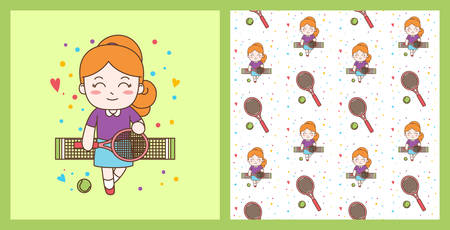 Cute Girl Playing Tennis illustration with pattern, ready for print  イラスト・ベクター素材