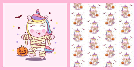 Cute Unicorn use Mummy Costume in Halloween Party with pattern vector illustration