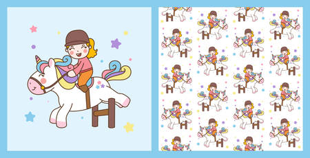Cute Girl Ride Unicorn jump obstacles Illustration and vector pattern background  イラスト・ベクター素材