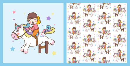 Cute Girl Ride Unicorn jump obstacles Illustration and vector pattern background Ilustração