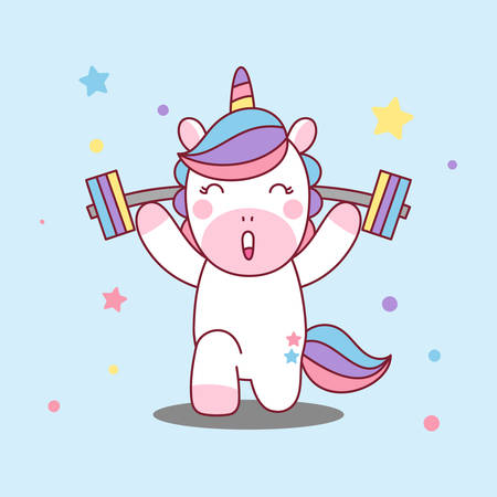 Unicorn lifts the barbell. Healthy Body. Vector illustration.