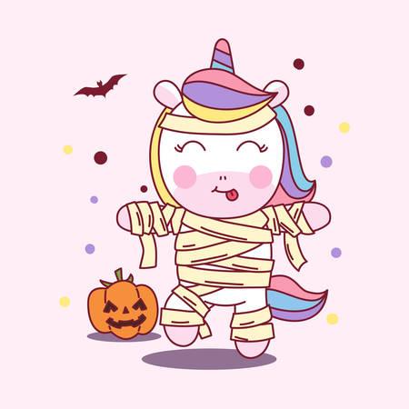 Cute Unicorn use Mummy Costume in Halloween Party. vector illustration Ilustração