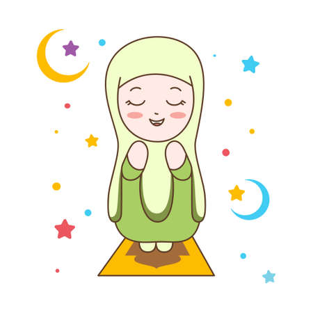Cute Muslim Girl Praying. Muslim Religion Vector Illustration