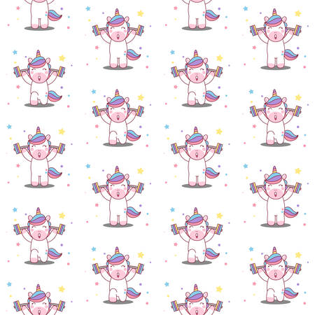Unicorn lifts the barbell seamless pattern vector Illustration Illustration