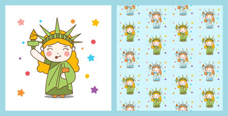 Cute Cartoon Liberty Girl and pattern background Illustration