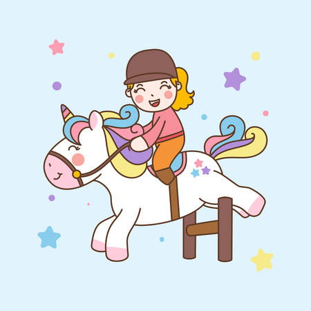 Cute Girl Ride Unicorn jump obstacles. Vector illustration
