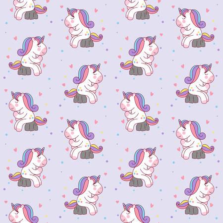Cute Cartoon Unicorn Sitting on the Stone like a thinker. seamless pattern background vector illustration