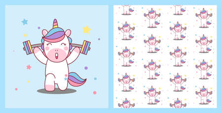 Unicorn lifts the barbell. Healthy Body. pattern background Vector illustration.  イラスト・ベクター素材