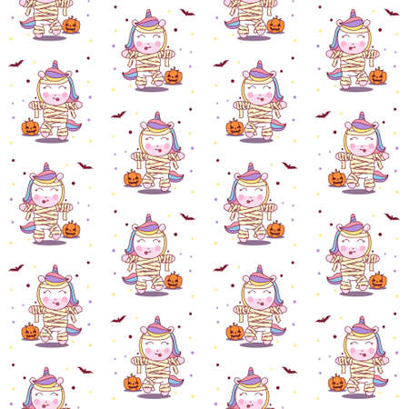 Cute Unicorn use Mummy Costume in Halloween Party. seamless pattern vector illustration Ilustração