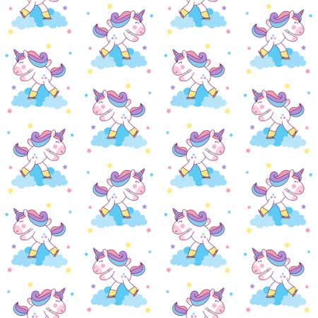 Cute Unicorn Ice Skating seamless pattern background. vector illustration