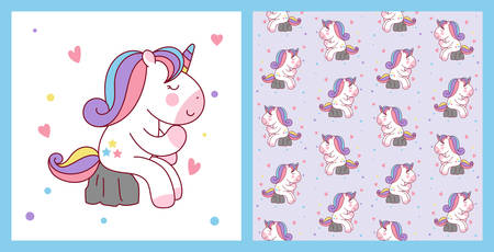Cute Cartoon Unicorn Sitting on the Stone like a thinker. vector illustration and pattern background