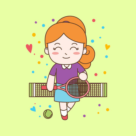 Cute Girl Playing Tennis. Vector Illustration ready for print.
