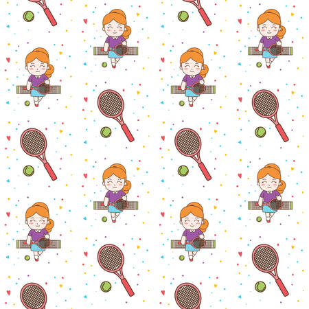 Cute Girl Playing Tennis seamless pattern illustration. Ready for print
