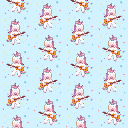 Cute Unicorn Playing Guitar seamless pattern Illustration, ready for T-Shirt