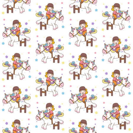 Cute Girl Ride Unicorn jump obstacles Illustration and vector seamless pattern background