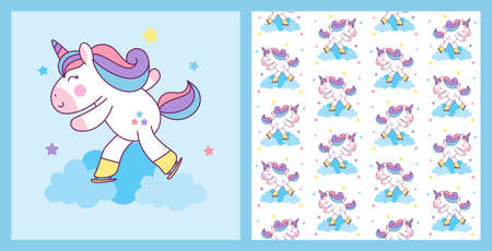 Cute Unicorn Ice Skating with pattern background illustration