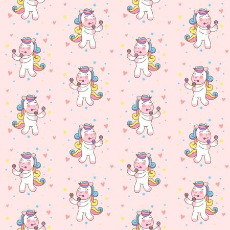 Cute Unicorn Horse Playing Maracas seamless pattern illustration, good for T-shirt.