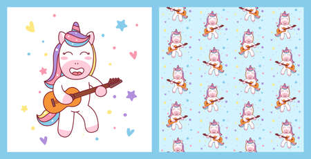 Cute Unicorn Playing Guitar Illustration and pattern ready for T-Shirt