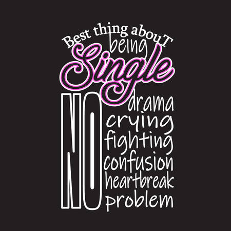 Single Quotes and Slogan good for T-Shirt. Best Thing About Being Single No Drama No Crying No Fighting No Confusion No Heartbreak No Problem.