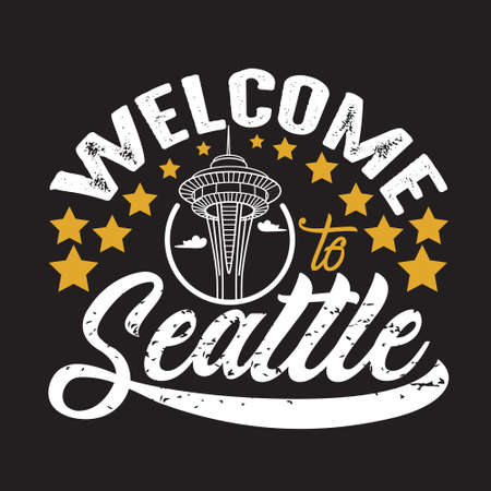 Seattle Quotes and Slogan good for T-Shirt. Welcome to Seattle. Иллюстрация