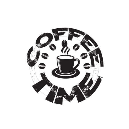 Coffee Quote and saying good for print. Coffee time  イラスト・ベクター素材