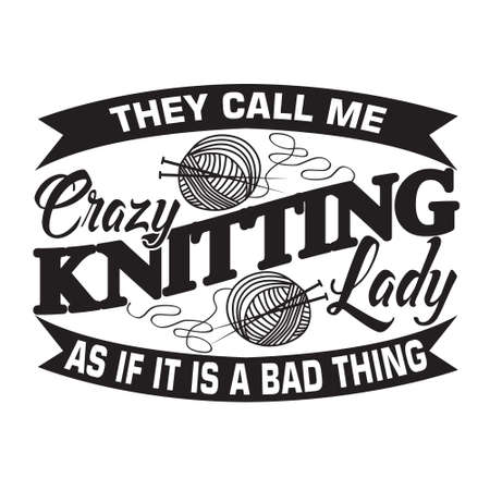 Knitting Quote. Weekend forecast knitting with no change of house cleaning or cooking 스톡 콘텐츠